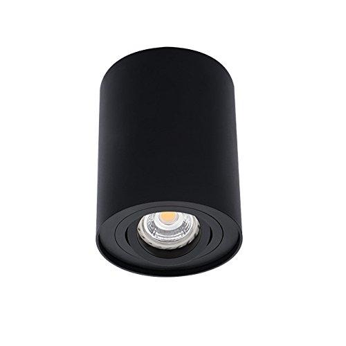 SET: 4W LED Aufbauspot, Schwenkbar LED Deckenaufbauleuchte, Aluminium Deckenleuchte Rund Ø95x125mm Schwarz, LumenTEC (SCHWARZ)