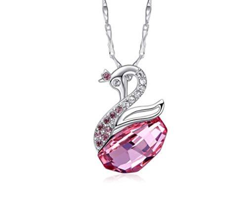 Zxh collana con cigno in argento sterling s925 con accessori per ciondolo in cristallo con elementi swarovski,d