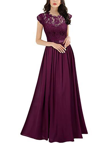 Miusol Robe de Soirée Femmes Élégant Plissée Mousseline Longue Robe de marié Magenta XL