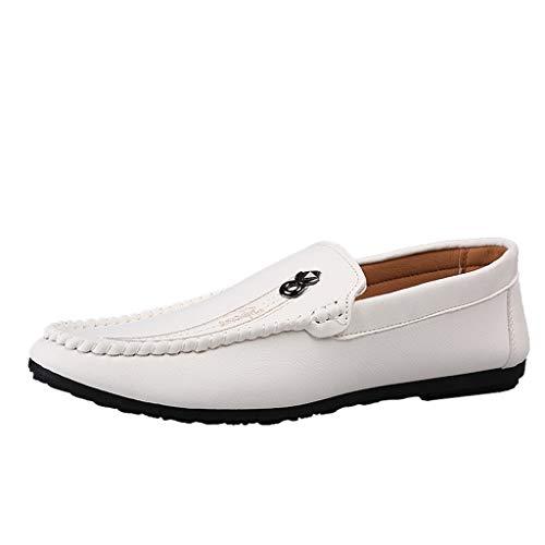 Bellelove Herren Klassische Mokassin Weich Comfort Loafers Schuhe Minimalistisch Flache Fahren Schuhe Bootsschuhe Slippers 39-44 (Braune Lacoste Schuhe)