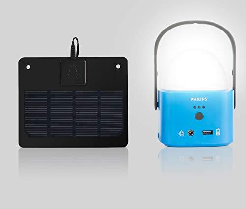 Philips Lifelight LED Laterne Solar für Camping Akku mit USB zum Laden Campinglampe Campingleuchte Taschenlampe Powerbank Funktion IP44 für Außen eingebaute Lithium Ionen IFR 1000mAh 18650 Power Akku