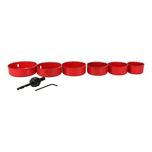 8 pc Nach unten Licht Installations-set Lochschneider Säge Bohrer 50-86mm (Rot Leuchtet Kreis)