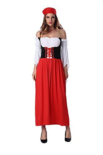 ZAMME Frauen-reizvolle Wäsche-Piraten-Uniform-Kostüm-Abend langes Kleid + (Plus Kostüme Size Catwoman)