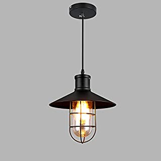 XSPWXN Europäische Single Head Decken Pendelleuchte Hohe Helligkeit E27 Eisen Lampenschirm Mit Glasschirm Kronleuchter Hängeleuchten Vintage Industrial Style