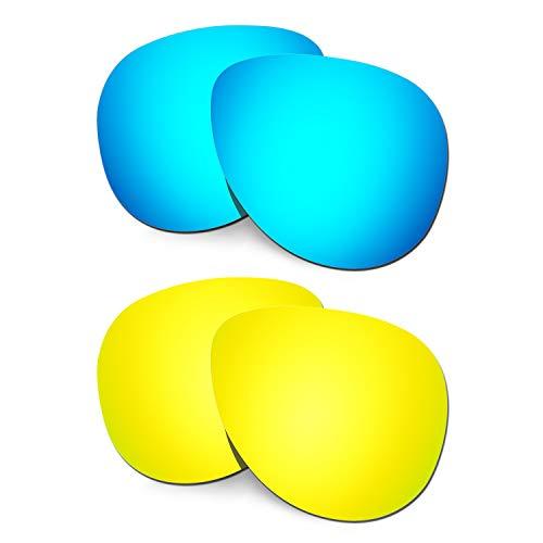 HKUCO Verstärken Ersatz-Brillengläser für Oakley Elmont (Medium) Blau/24 Karat Gold Sonnenbrille