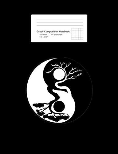 Graph Composition Notebook: Math, Physics, Science Exercise Book - Bonsai Tree Yin Yang Symbol Nature Harmony Balance Life Gift - Black 5x5 Graph ... Teens, Boys, Girls - 7.5