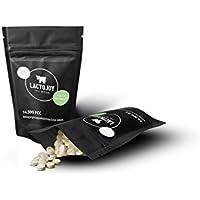 LactoJoy Laktase-Tabletten bei Laktoseintoleranz - 14.500 FCC Dosierung 240 Stk. Nachfüllpackung - Lactase Enzym gegen Unverträglichkeit bei Milch Milchzucker Laktose - Slider mit hochdosierten Mini Tabletten bei Lactoseunverträglichkeit - Vegan pflanzliche Zutaten ohne chemische Zusätze