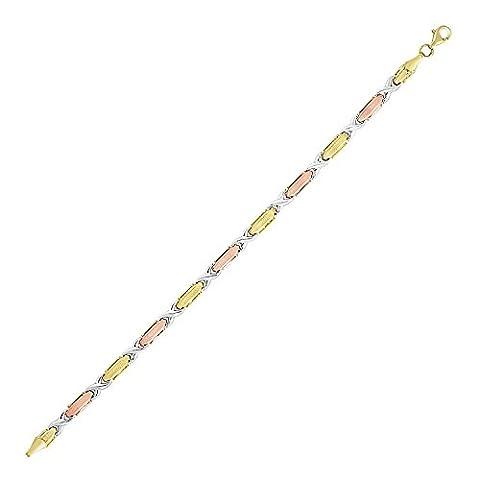 14K Tri-Color Gold Bracelet with Textured Hugs and Kisses Design