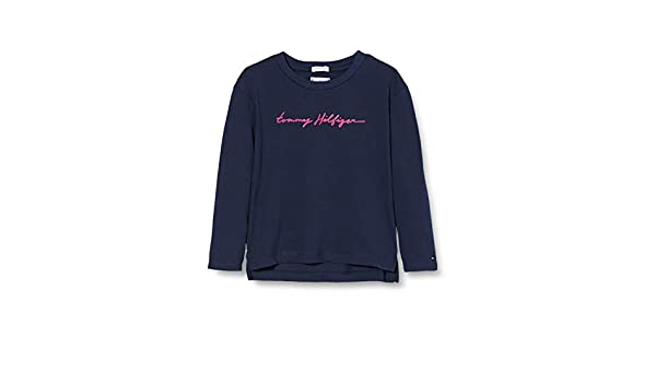 Tommy Hilfiger Essential Tommy Script Tee L//S T-Shirt /À Manches Longues Fille