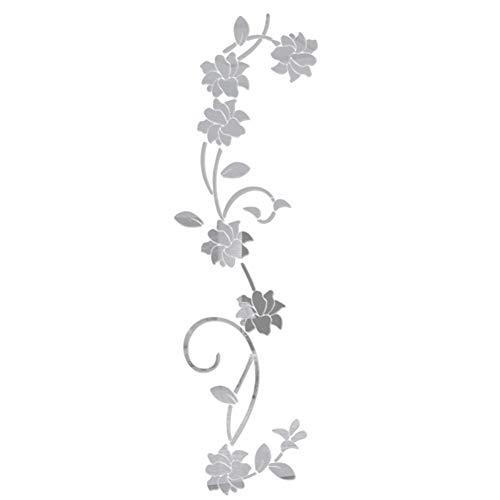 Kuizhiren1 Wandaufkleber für die Küche, 3D DIY Acryl, Spiegeleffekt, Blumen-Ranke silber
