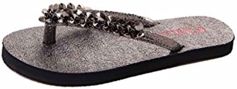 YUCH Señora Sandalias De Cristal De Fondo Plano Antideslizante Zapatillas EN Verano