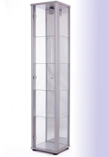 Standvitrine Glasvitrine Spiegel Beleuchtung Vitrine Silber Alu mit Spiegel
