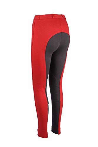 Damen Reithose Weich Stretch Rot Grau - Rot-Grau, 40 / W30