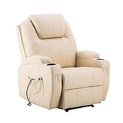 MCombo massaggio elettrico sedia poltrona reclinabile riscaldamento a vibrazione reclinabile (Bianco Crema)