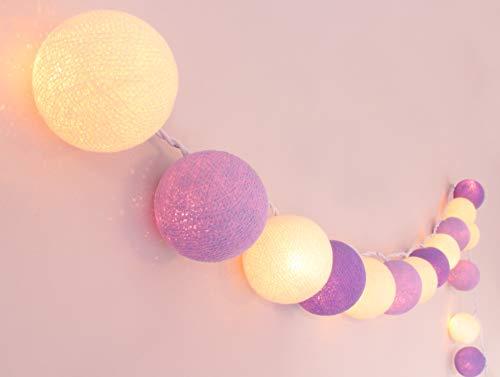 CREATIVECOTTON LED Lichterkette mit 20 Kugeln aus Baumwolle 'Lavendel' - Cotton Ball Lights, innen