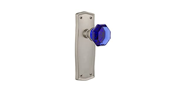 Nostalgic Warehouse 724924 Prairie Plate Privacy Waldorf Cobalt Door Knob in Satin Nickel 2.75