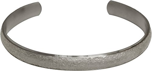 Matte Silber 8mm breiter Gericht Sandstein texturierter Torc Armreif - 65mm von Ti2 Titanium - Gericht 8