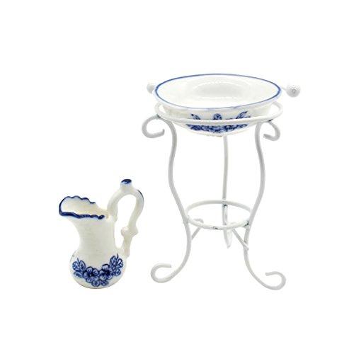 Homyl 1/12 Puppenhaus Bad Möbel Mini Porzellan Wassertopf, Waschbecken, Metall Rack -