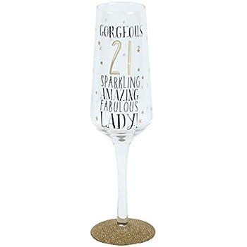 Gorgeous 21 Sparkling Amazing Fabulous Lady Sparkling 21st Birthday Champagne Glass