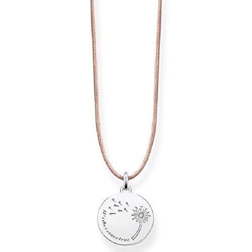 Thomas Sabo Damen-Kette Choker Pusteblume Wishes Come True 925 Sterling Silber beige LSKE006-401-19-L80v