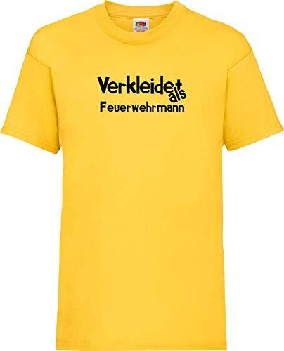 Kinder-Shirt Karneval Verkleidet als Feuerwehrmann Fasching Kostüm Verkleidung, gelb, - Gelb Feuerwehrmann Kostüm