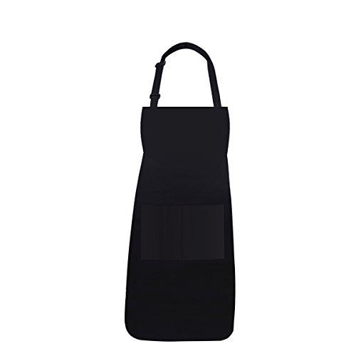ISIYINER Tablier de Cuisine Réglable Coton avec 2 Poches Restaurant Cafe Supermarché Homme Femme Noir
