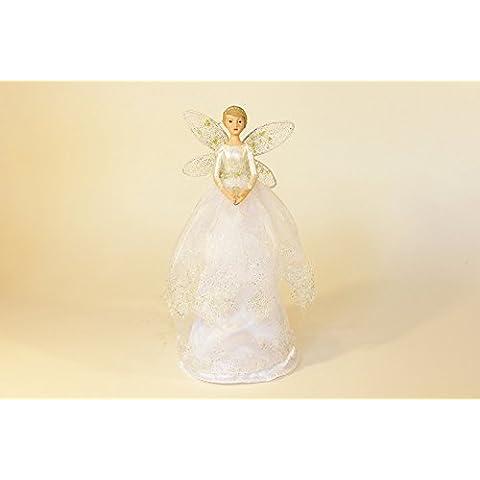Gisela Graham neve goccia bianco angelo/Fata Albero di Natale tree-topper 28cm