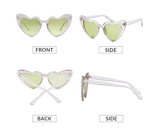 WSKPE Sonnenbrille,Liebe Herz Sonnenbrille Frauen Süß Sexy Cat Eye Sonnenbrille Glitter Kontaktlinsen Brillen Grau Clear Frame Grüne Linse 1 Pcs