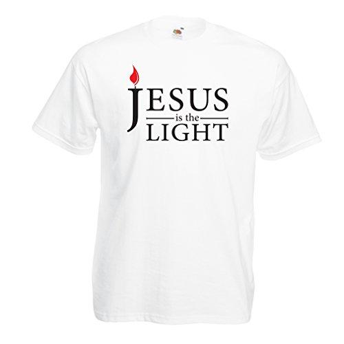 lepni.me Männer T-Shirt Jesus Christus ist Das Licht, Die Liebe Gottes - Ostern - Auferstehung - Geburt Christi - Religiöse Christliche Geschenke (Medium Weiß - Hochzeit Geschenke Katholische