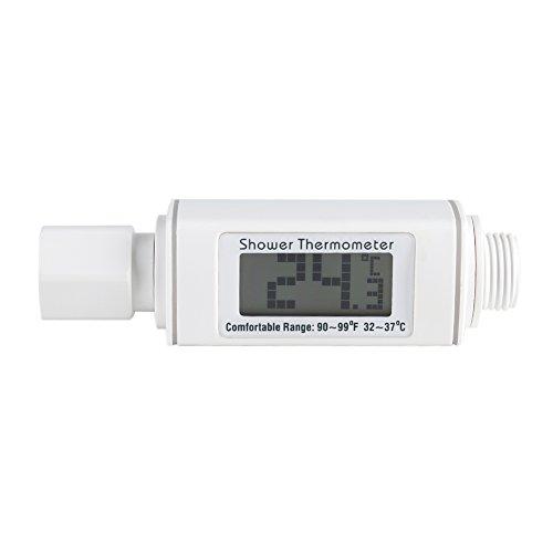 Fdit Wasserdichter intelligenter Batterie-freier selbstgenerierender Realzeit-Digital-Duschkopf-Thermometer für Kinder-Erwachsen-Hotel-Haus(weiß)
