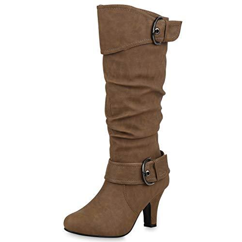 SCARPE VITA Elegante Damen Stiefel Warm Gefütterte Winter Boots Schuhe165424 Khaki 41