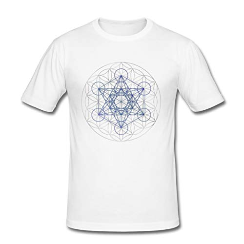 Spreadshirt Metatrons Würfel Blume des Lebens Heilige Geometrie Platonische Körper Kraft Gottes Männer Slim Fit T-Shirt, L, Weiß