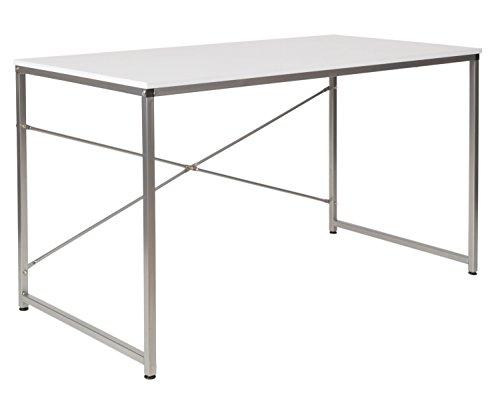 ts-ideen Holz Schreibtisch Bürotisch Computertisch Arbeitstisch Esstisch Metallbeine Silber