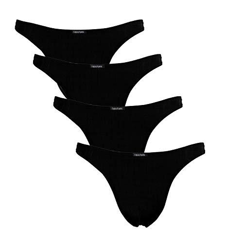 Fabio Farini 4er-Pack maskuline Herren String-Tangas in kräftigem Rot oder Nachtschwarz, Schwarz, Größe: XL