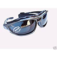 Alpland Sports glasses Mountains glacier glasses for ski sports kitesurfing cycling with band and strap changeable - glass silver smoke mirror inkl.Softbag