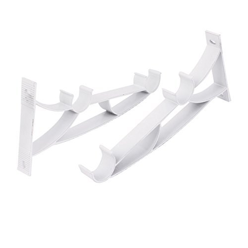 1 pouce 2pcs Dia Double Drapery Curtain Rod Métal Support mural blanc