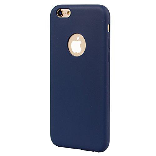 Cover iPhone 6 Plus / 6S Plus (5.5),ToDo Custodia iPhone 6 Plus Gel Silicone TPU Morbido Elegant Ultra Tinta Unita Sottile Opaco Flessibile Gomma Cassa Protettiva Antiurto AntiGraffio Antiscivolo Leg Nero + Blu