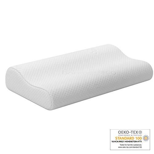 """bonmedico Dreamy Nackenkissen aus anpassungsfähigem """"Memory Foam""""-Schaumstoff für ein entspanntes Schlafgefühl, Ergonomisches Schlafkissen für Rücken- und Seitenschläfer"""