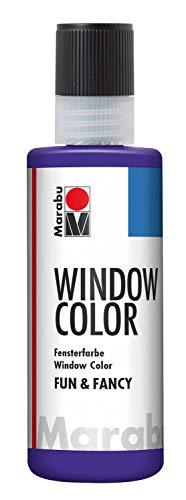 Marabu 04060004251 - Window Color fun & fancy, Transparentfarbe auf Wasserbasis, ablösbar auf glatten Flächen wie Glas, Spiegel, Fliesen und Folie, 80 ml, violett
