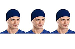 The Blazze Cotton Helmet Cap (Free Size, Royal Blue+Royal Blue+Royal Blue)