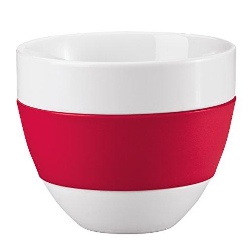 koziol Milchkaffee-Tasse 300 ml Aroma, Porzellan/Kunststoff, solid himbeer rot, 10,8 x 10,8 x 8,6 cm