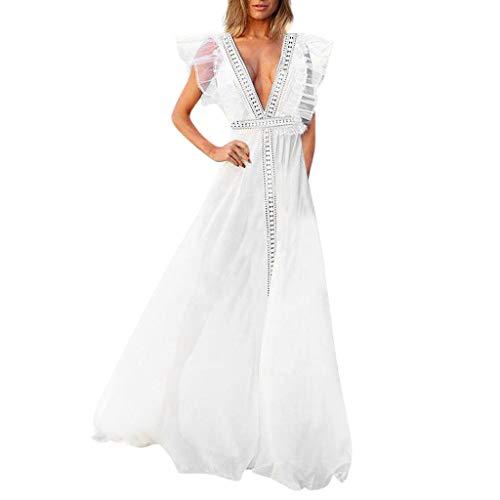 Kleider Damen Dasongff Sommerkleider Frauen Bikini Bademode Cover Up Cardigan Beach Badeanzug Kleid Strandkleid Chiffonkleid Weiß (S, Weiß-E)