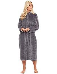 38bd7d5cc9 Slumber Hut® Ladies Fleece Dressing Gown Full Zipped Long Length - Housecoat  Unique Colours -