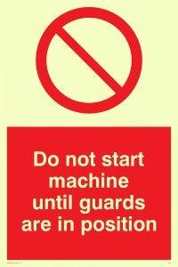 """Viking Schilder pm41-a6p-pv """"Nicht Start Maschine bis Wachen sind in Position"""" Zeichen, Foto Leuchtziffern Aufkleber, 150Mm H x 100mm W"""