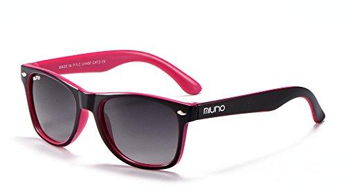 Miuno® Kinder Sonnenbrille Polarisiert Polarized Wayfare für Jungen und Mädchen Etui 6833a (Schwarz/Pink)