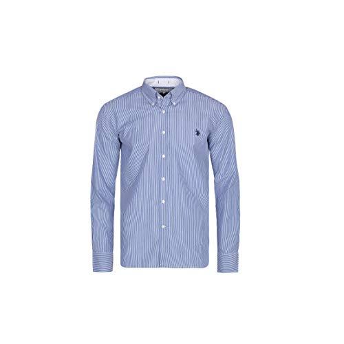 U.S. Polo Assn. Hemd für Männer - Business Hemd für Ihn - Herren Langarm Button Down Hemd - Für die Arbeit oder Freizeit - Auf die Jeans oder den Anzug (Weiß-Blau Gestreift, M) - Button-down Polo Shirt Gestreift