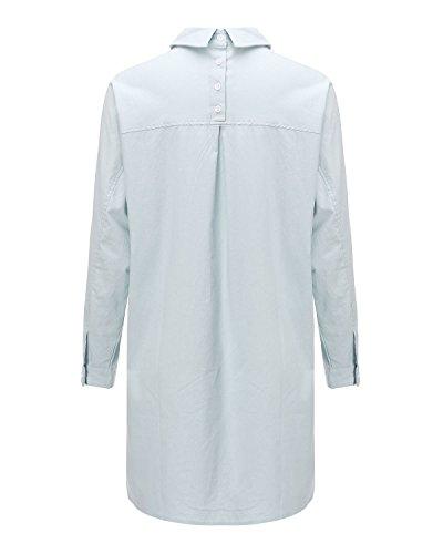 ZANZEA Mode Femme Grande taille longue lâche en Lin Linge Circuler shirt blouse Chemise Top Bleu clair