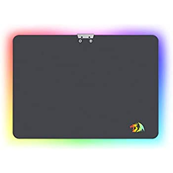 Redragon Aurora P010 RGB Hard Gaming Mousepad with 16.8 Million Colors - 13.8 x 9.8 Inches