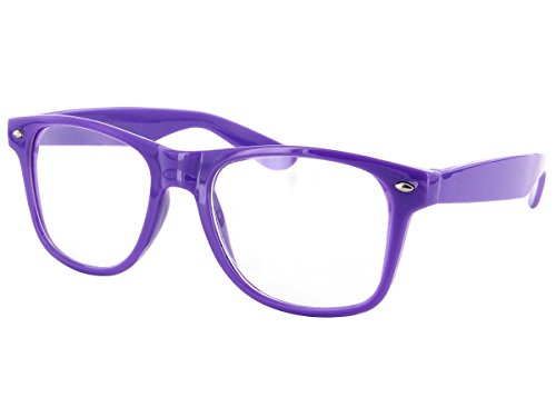 Alsino Nerd Brille Herren Damen ohne Stärke (V-816a), Farbe: Lila Rahmengestell, klassische Nerdbrille