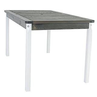 Ambientehome Gartentisch Tisch Massivholz Esstisch EVJE, Weiß/Taupegrau, ca. 135 x 77 cm